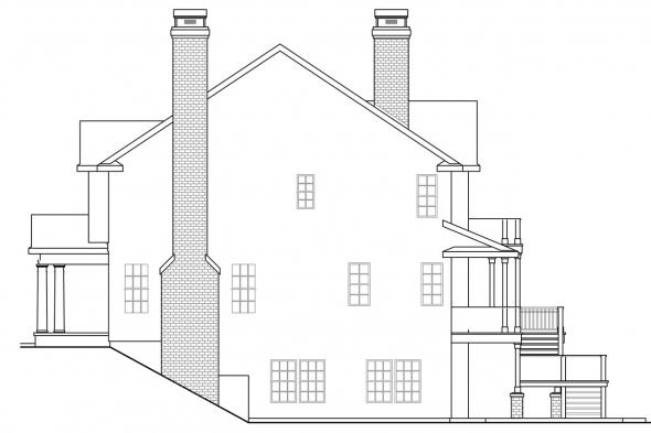 Georgian House Plan - Princeton 30-497 - Right Elevation