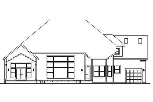 Georgian House Plan - Yorkshire 30-505 - Rear Elevation