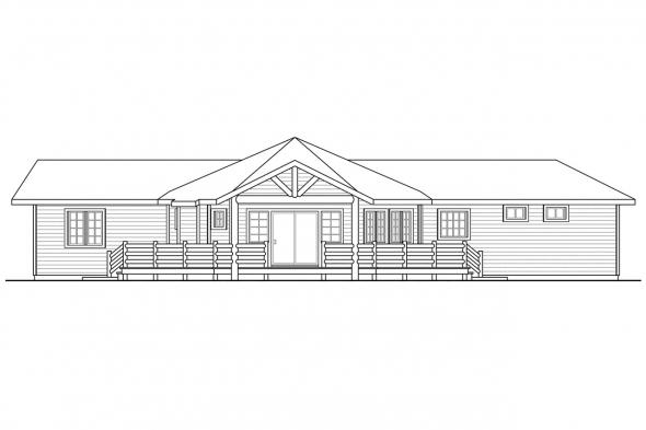 Green House Plan - Greenview 70-004 - Rear Elevation