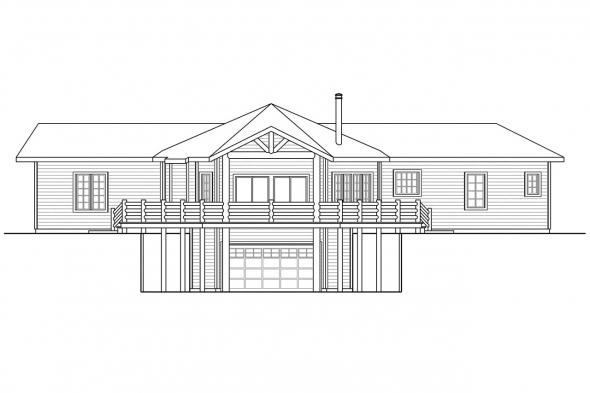 Hexagonal House Plan - Blue Creek 10-564 - Rear Elevation