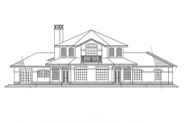 Hexagonal House Plan - Grandeza 10-136 - Rear Elevation
