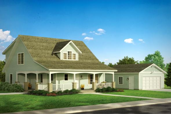 Duplex Plan - Tupelo 60-006 - Front Elevation