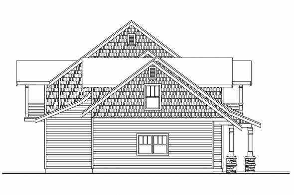 Lodge Style House Plan - Brookport 30-692 - Left Elevation