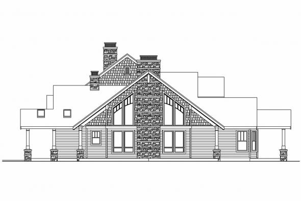 Lodge Style House Plan - Brookport 30-692 - Right Elevation