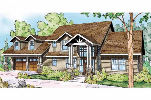 Lodge Style House Plan - Grand River 30-754 - Front Elevation