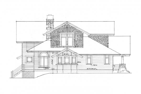 Lodge Style House Plan - Huntington 42-017 - Left Elevation