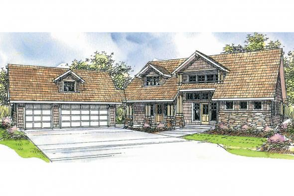 Lodge Style House Plan - Mariposa 10-351 - Front Elevations