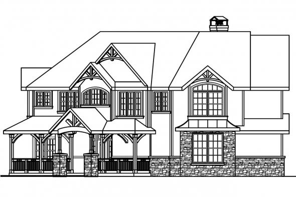 Lodge Style House Plan - Rutherford 30-411 - Right Elevation