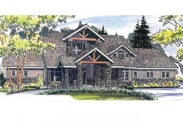 Lodge Style House Plan - Timberfield 30-341 - Front Elevation