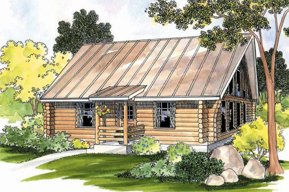Log Home Floor Plan - Clarkridge 30-267 - Front Elevation