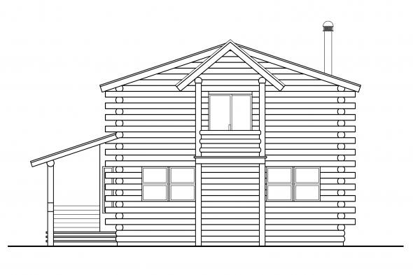 Log Home Floor Plan - Eagleton 30-020 - Rear Elevation