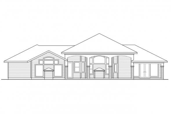 Luxury House PLan - Argent 30-122 - Rear Elevation