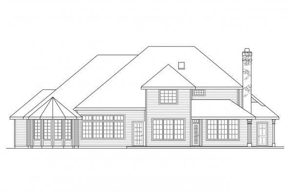 Luxury House Plan - Bennington 30-088 - Rear Elevation