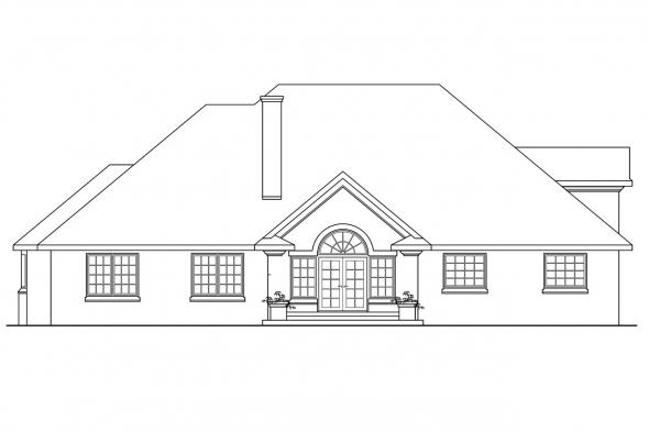 Luxury House Plan - Hearthside 10-350 - Rear Elevation