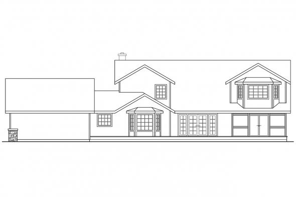 Luxury House Plan - Hilyard 10-408 - Rear Elevation