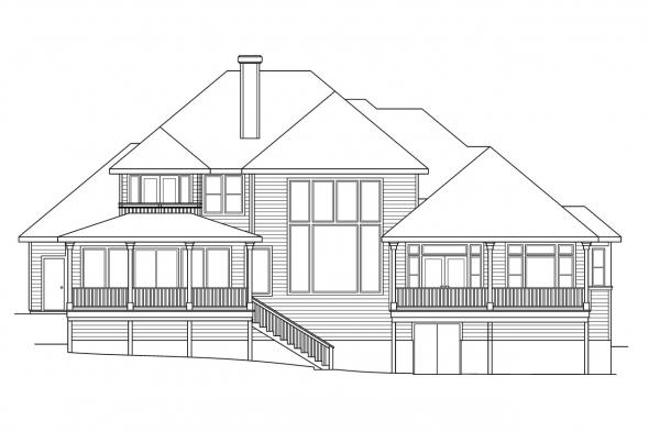 Luxury House Plan - Merritt 30-145 - Rear Elevation