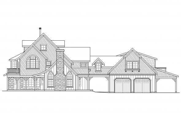 Luxury House Plan - Petersfield 30-542 - Left Elevation