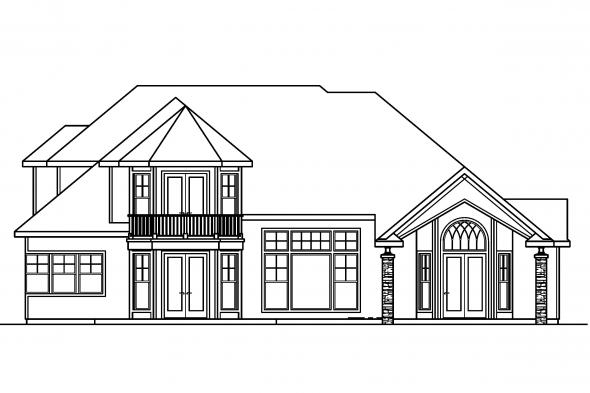 Luxury House Plan - Southwick 30-482 - Rear Elevation