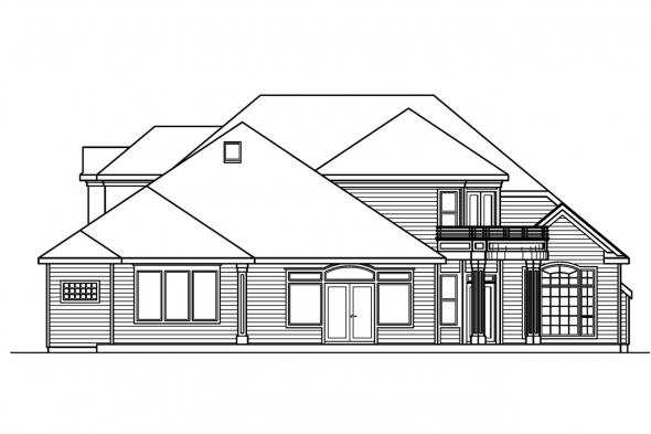 Luxury House Plan - Stonehaven 30-465 - Rear Elevation