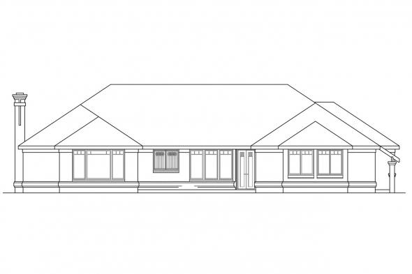Luxury House Plan - Westbrook 30-065 - Rear Elevation
