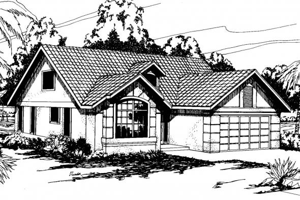Mediterranean House Plan - Banyon 11-004 - Front Elevation