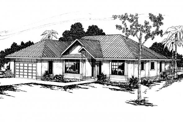 Mediterranean House Plan - Cypress 11-001 - Front Elevation