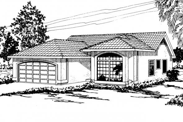 Mediterranean House Plan - Daytona 11-034 - Front Elevation