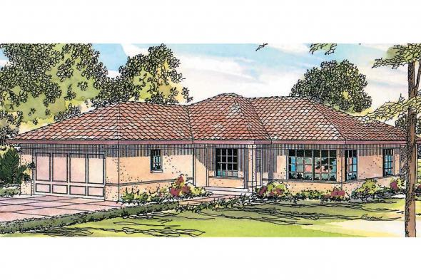 Mediterranean House Plan - Topaz 11-087 - Front Elevation