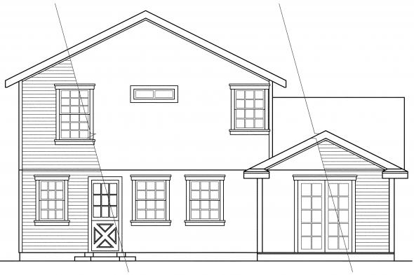 Narrow Lot House Plan - Alder 30-111 - Rear Elevation