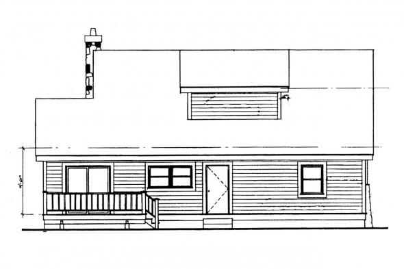 Narrow Lot House Plan - Altadena 41-006 - Rear Elevation