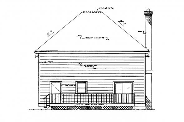 Narrow Lot House Plan - Astoria 41-009 - Rear Elevation