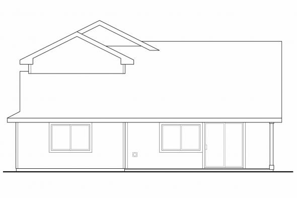 Narrow Lot House Plan - Bigsby 30-642 - Rear Elevation