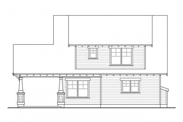 Narrow Lot House Plan - Blue River 30-789 - Rear Elevation