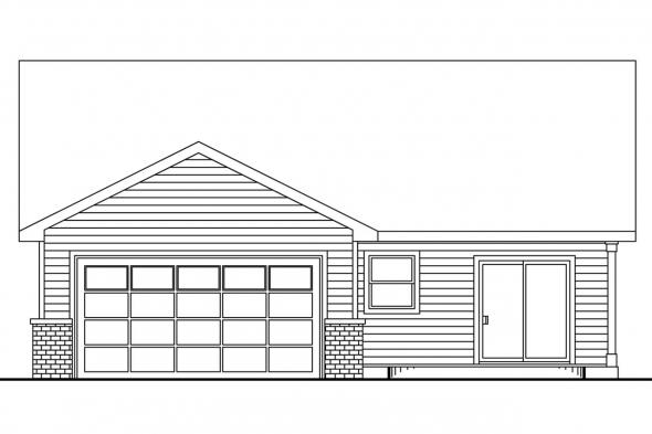 Narrow Lot House Plan - Callaway 30-641 - Rear Elevation