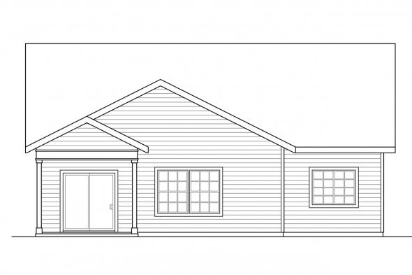 Narrow Lot House Plan - Cedar Ridge 30-855 - Rear Elevation