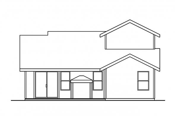 Narrow Lot House Plan - Knollwood 30-324 - Rear Elevation