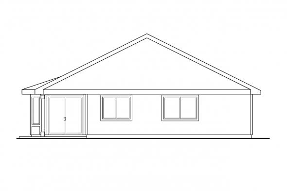 Narrow Lot House Plan - Marshall 10-160 - Rear Elevation