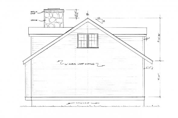 Narrow Lot House Plan - Mazaruni 41-007 - Rear Elevation