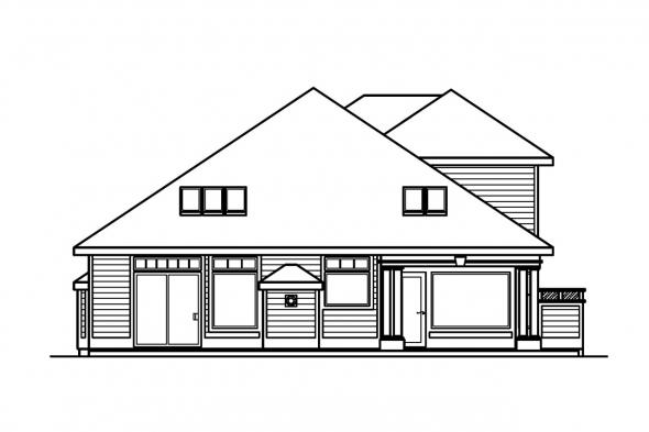 Narrow Lot House Plan - Newark 30-182 - Rear Elevation