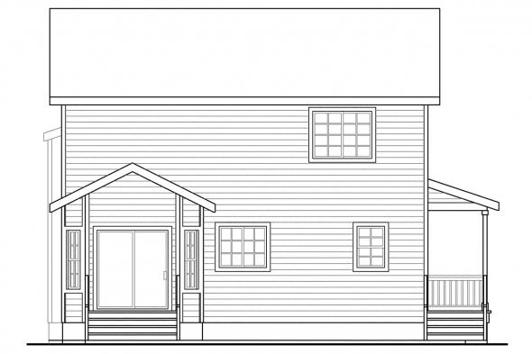 Narrow Lot House Plan - Pine Hill 30-791 - Rear Elevation
