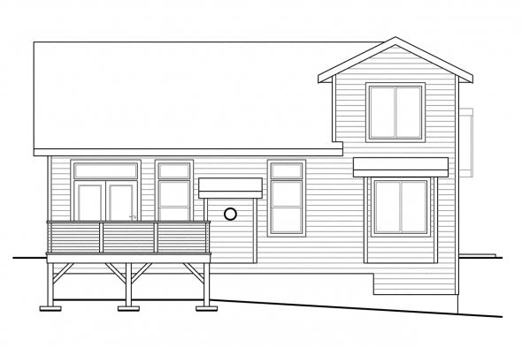Narrow Lot House Plan - Riverton 30-811 - Rear Elevation