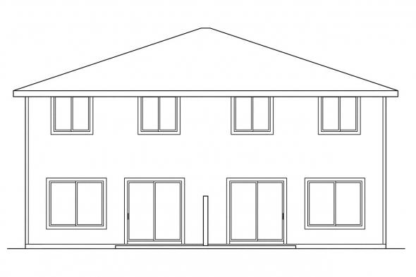 Narrow Lot House Plan - Toliver 60-020 - Rear Elevation