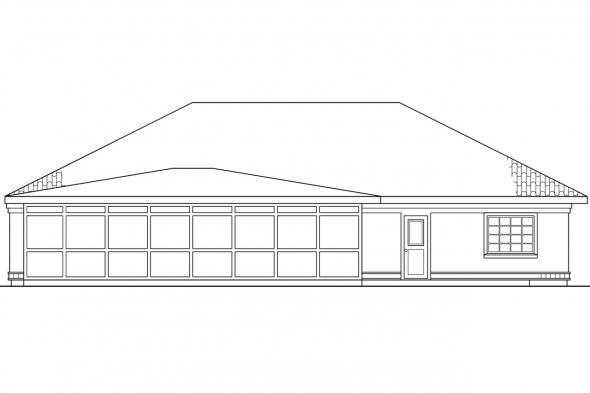 Pool House Plan - Cypress 11-001 - Rear Elevation