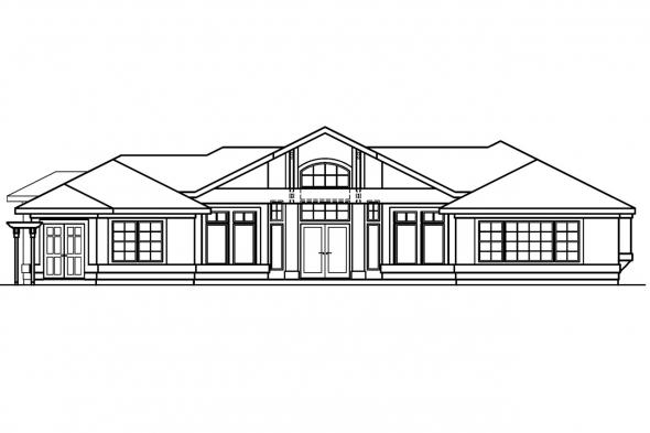 Pool House Plan - Jacobson 30-397 - Rear Elevation