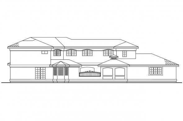 Pool House Plan - Savannah 11-035 - Rear Elevation