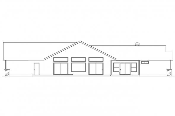 Pool House Plan - Williston 30-165 - Rear Elevation