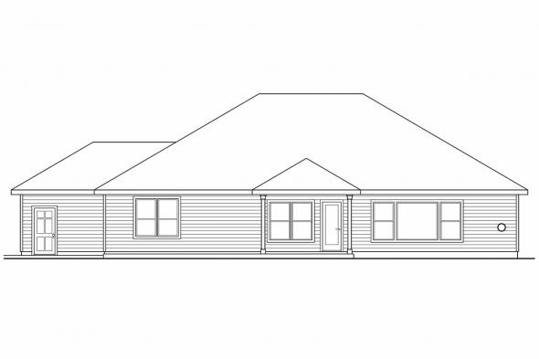 Prairie Style House Plan - Wallowa 30-737 - Rear Elevation