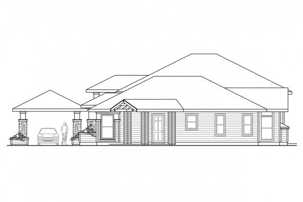 Prairie Style House Plan - Argent 30-122 - Right Elevation