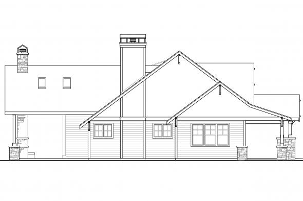 Prairie Style House Plan - Barnhart 30-946 - Left Elevation