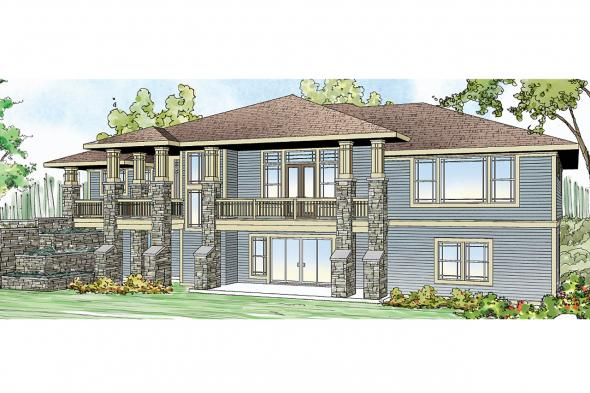 Prairie Style House Plan - Northshire 30-808 - Front Elevation